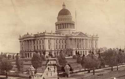 Northwest view of the State Capitol circa 1884