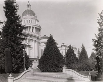 East side of the State Capitol showing the steps that lead up to the building circa 1910