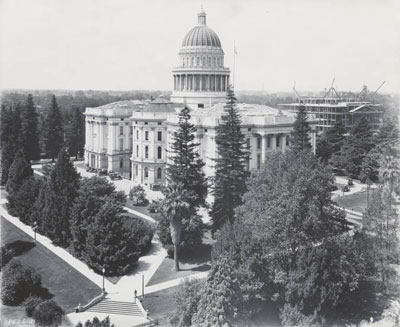 View of the east side of the State Capitol circa 1924