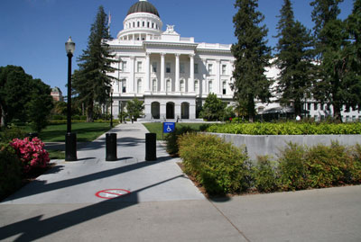 View of the south entrance of the State Capitol as it appears today with the south pavilion entrance in the background