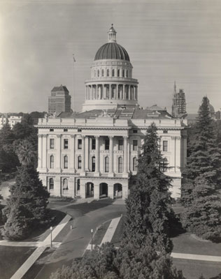 An elevated view of the south side of the State Capitol
