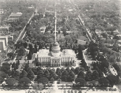 Aerial view of the State Capitol from the west side circa 1925